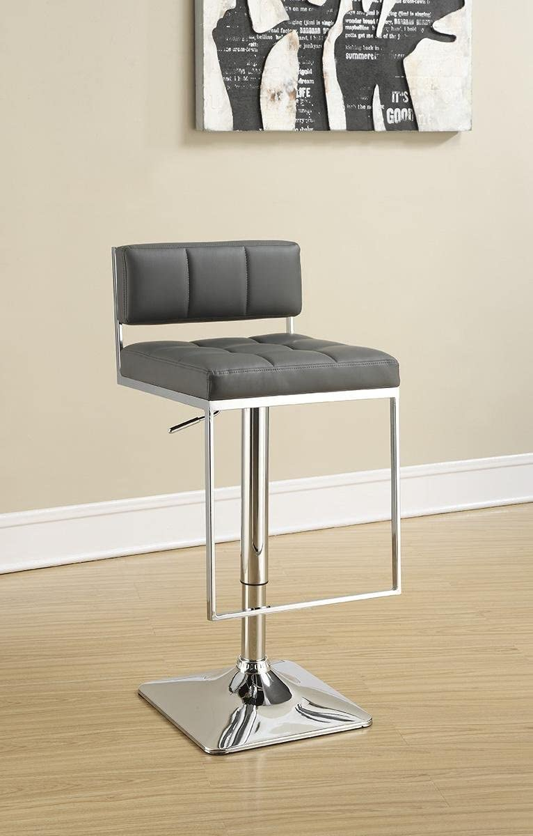 Adjustable Bar Stool Chrome and Grey