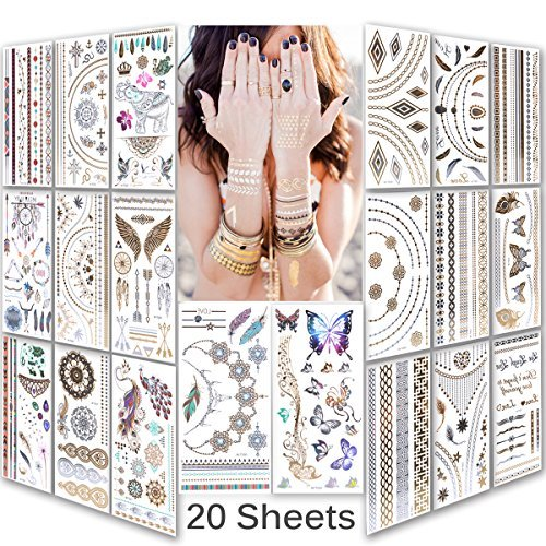 lady-up-waterproof-metallic-temporary-tattoo-20-sheets-in-gold-silver-tattoosshimmer-temporary-tatto