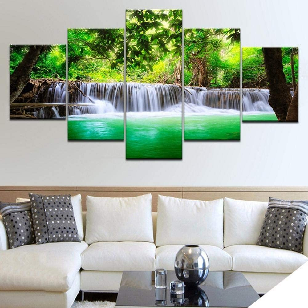 TXFMT No frame canvas decoration painting handmade DIY Living room art forest waterfall canvas painting module picture poster and print painting 5 panel wall pictures prints on canvas the landscape pi