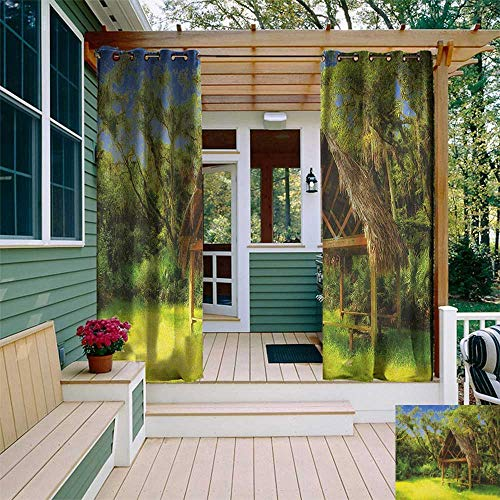leinuoyi Tiki Bar, Outdoor Curtain Extra Wide, Tiki Hut in Dreamy Fantasy Forest Tropical Island Wildlife Greenery Art, for Patio W120 x L96 Inch Green Blue Brown]()