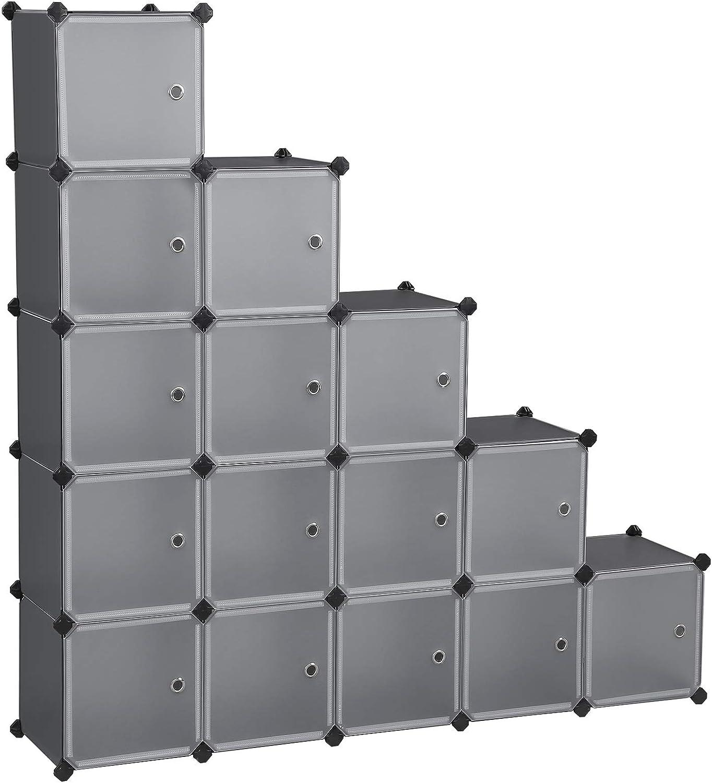 SONGMICS Estantería Modular, Armario Modular de 16 Cubos, Estantería de Plástico con Puertas, para Zapatillas, Ropa, Juguetes, Libros, Fácil de Montar, Gris LPC443G01