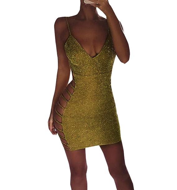 new product 3bd81 1c56d OUFour Estivo Vestiti da Discoteca Donna Sexy Pin Up Senza ...