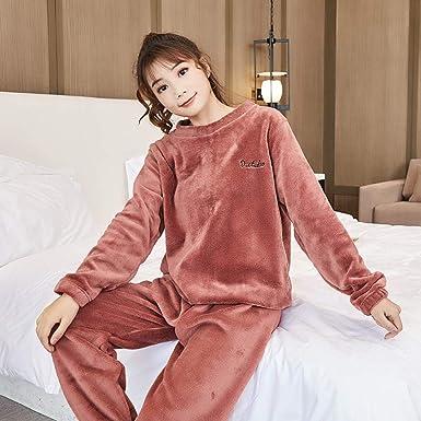 Pijamas Mujer Algodon Conjuntos Sexy e Elegante Manga Pantalon Largos, Suave Comodo y Agradable Servicio de hogar de Franela de Invierno de Dos Piezas de Pasta de Frijol Color L: Amazon.es: Ropa