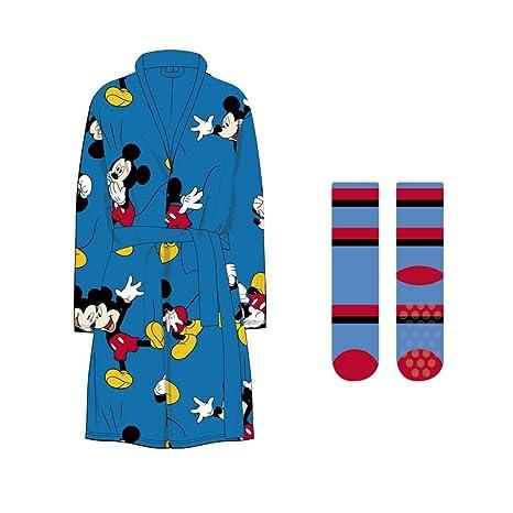 Mickey Bata T5-6 y Calcetines Suave Azul