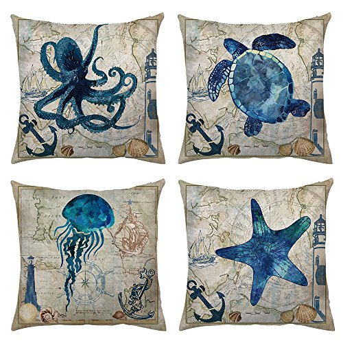 Ocean Park 4pcs Throw Pillow Cover Sea Theme Marine Animal Set Outdoor Beach Decorative Sofa Bench Cushion Covers Coastal Theme 18''x 18'' Burlap by Shenermay (Image #5)