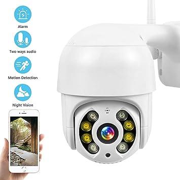 Camara WiFi Exterior Impermeable IP66 con Audio de Dos V/ías Notificaci/ón de Alarma PTZ Camara Vigilancia Detecci/ón de Movimiento 355/° Pan//90/° Tilt Visi/ón Nocturna en Color