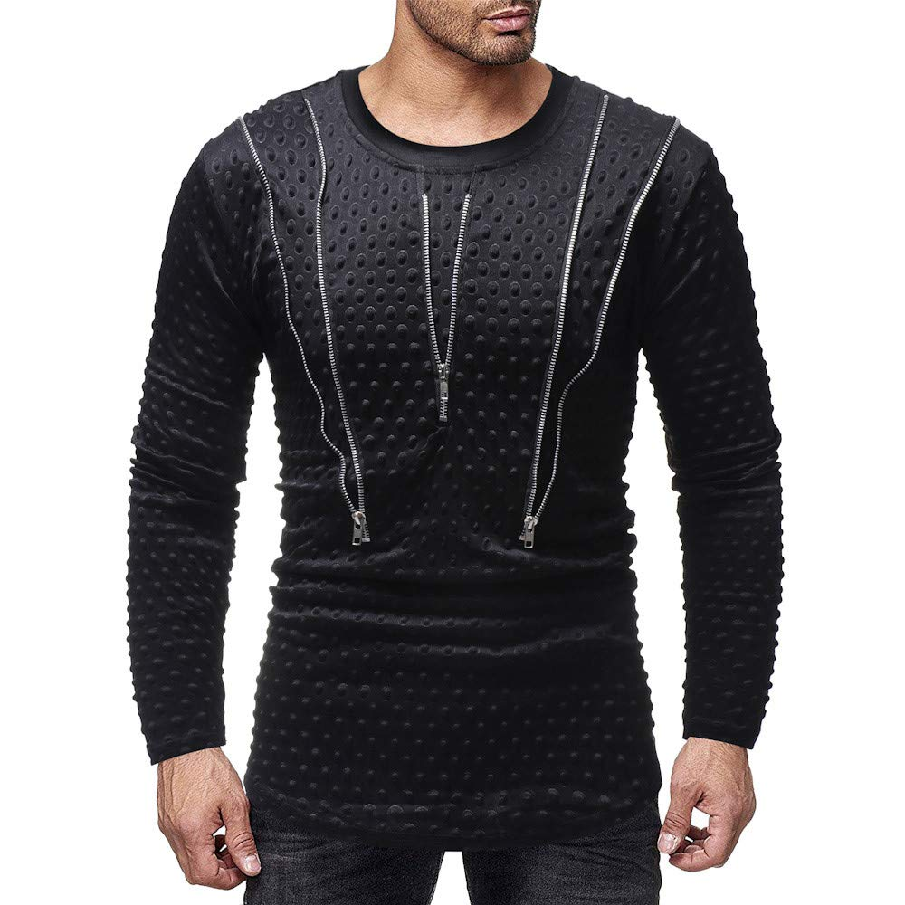 iLXHD Men's Polka Dot Long Sleeve Zipper Pullover Sweatshirt Top Blouse (Black,M)