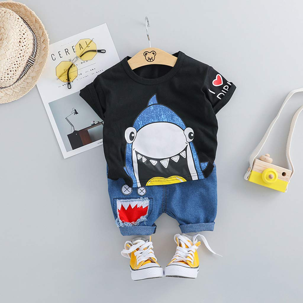 White,80//8 JYC//Big.Promotion Toddler Baby Kids Boys Cartoon Shark Tops Short Pants Casual Outfits Set