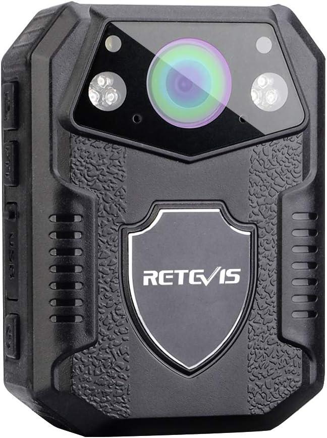 Noir, 16Go Retevis RT77 Police Cam/éra 21MP 1080P FHD Cam/éra Grand-Angle 150 /° IP54 Vision Nocturne IR Enregistrement en Boucle Batterie 2650mAh Tir 38M HD