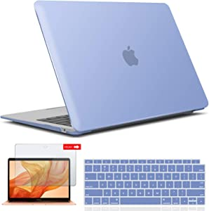 IBENZER MacBook Air 13 Inch Case 2020 2019 2018 New Version A2179 A1932, Hard Shell Case with Keyboard & Screen Cover for Apple Mac Air 13 Retina with Touch ID, Serenity Blue, AT13SRL+2