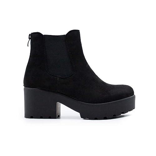 ZAPSHOP B15008-1 Botin de Tacon con Plataforma y Elasticos Laterales para Mujer: Amazon.es: Zapatos y complementos