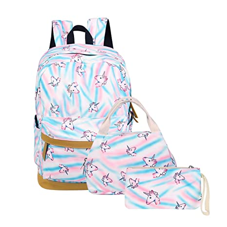 a8622e61e29 Big Student Backpack 3Pcs Set Rainbow Unicorn Printed School Bag for Teens  Girls (Unicorn)  Amazon.ca  Luggage   Bags