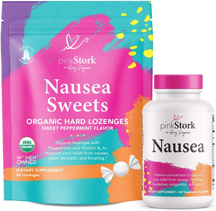 Pink Stork Nausea Support Bundle: Morning Sickness Relief for Pregnant Mothers + Nausea Relief Supplement & Sweets with Vitamin B12 + Ginger to Reduce Dizziness & Motion Sickness Relief, Women-Owned
