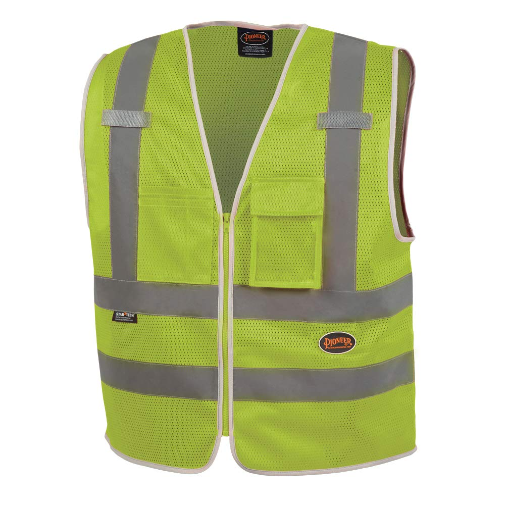 Pioneer Safety Vest for Men – Hi Vis Reflective Mesh Neon with 8 Pockets, Zipper Closure for Construction, Traffic, Security Work – Orange, Yellow/Green