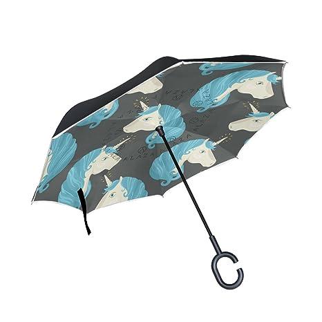 COOSUN Capa pony unicornio doble del paraguas invertido inversa para el coche y el uso al