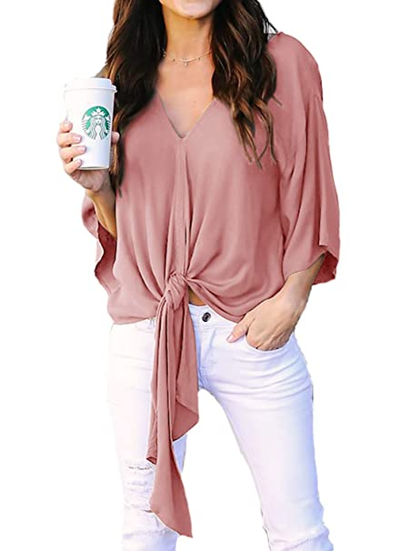 88ed6c19f9a192 Women's Casual Loose Kimono 3/4 Sleeve V Neck Tie Front Knot Blouses T Shirt  Tops Blush Small at Amazon Women's Clothing store: