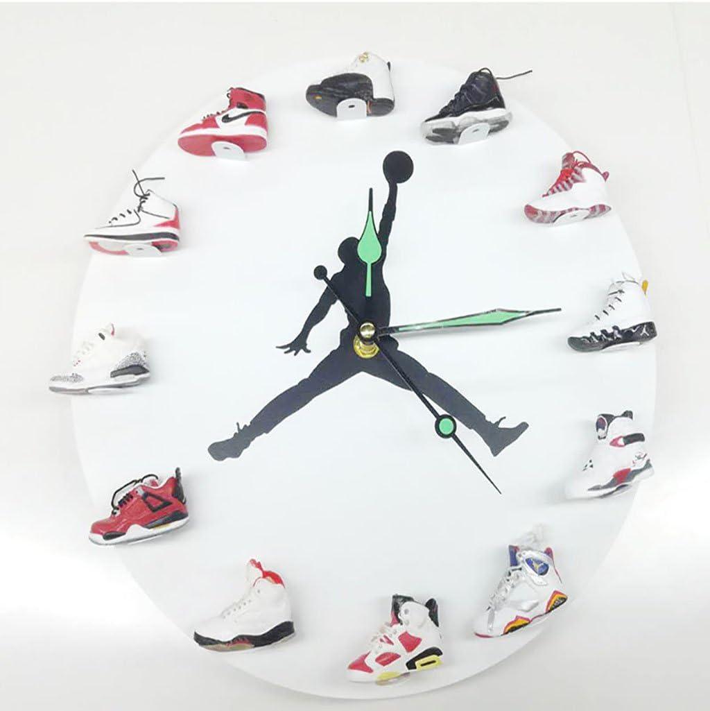 JLRQY Wall Clocks Sneaker 3D Mini Style Large Round Clock Personality Creativity Home Decoration,E
