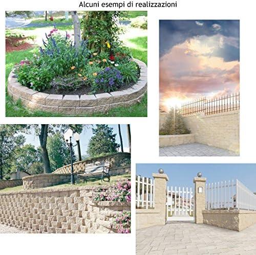 30 Mattoni di tufo chiaro 37x14x11cm blocchi per ornamento aiuole e giardino