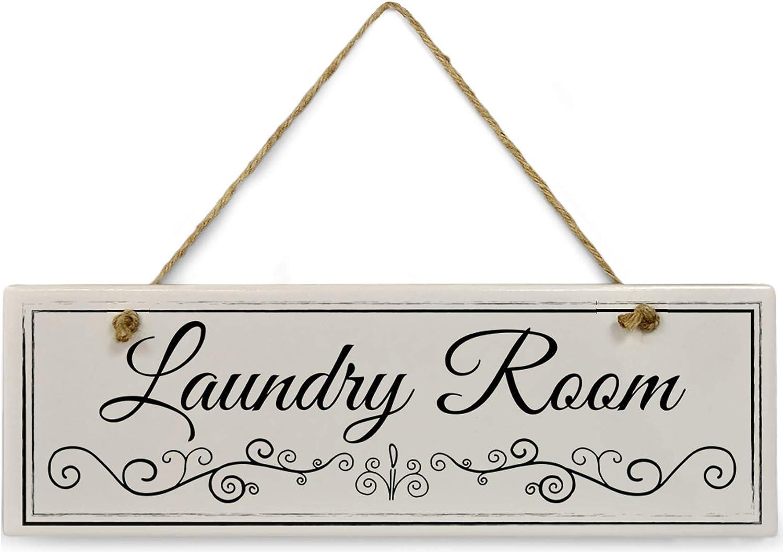 "Cedar Crate Market Black & White Laundry Room Sign 11 3/4"" x 4"" x 5/16""Home Décor Collection Ceramic with Design Rectangle Bathroom Wall Plaque, Bathroom Wall Décor, Bathroom Décor Wall Art"