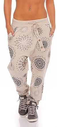 Malito Damen Jogginghose mit Knopfleiste   Sporthose mit Print   Baggy zum  Tanzen   Sweatpants - b09de0e012