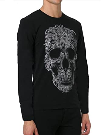 ac8e675b Amazon.com: Just Cavalli Skull Print Long Sleeve Tee, Black ($195 ...