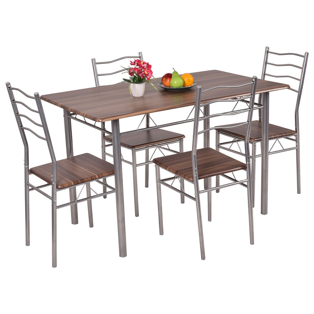 Amazon 5 Piece Dining Set Wood Metal Table and 4 Chairs