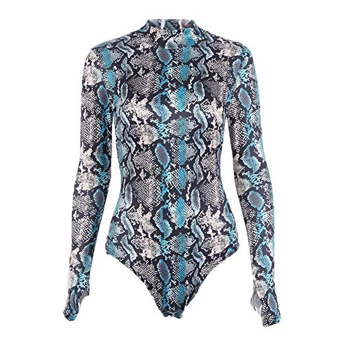 Damen Leotard, Mode Winter Herbst Body Lange Ärmel Dehnbar Bodysuit Freizeit Party Sexy Gymnastikanzug Bodysuit Top Blau