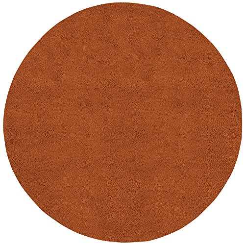 (Surya Aros AROS-5 Shag Hand Woven 100% New Zealand Felted Wool Rust Red 8' Round Area Rug)