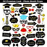 Kotbs 50pcs Photo Booth Props Graduation 2018, Large Glitter Graduation Photo Booth Props for Kids Boys Girls, Photobooth Props for Graduation Party Supplies Decorations