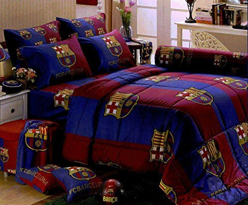 Barcelona Football Club Official Licensed Bedding In Bag Set (Queen Size, BC002); 1 Four Season Comforter with 4 pieces of Bed Fitted Sheet Set by TULIP