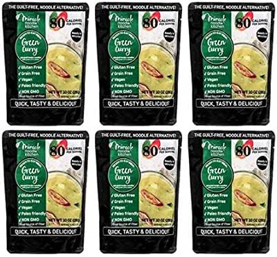 Miracle Noodle Ready to Eat Green Curry Meal, 10 oz (Pack of 6), Shirataki Noodles, Pasta Alternative, Gluten Free, Paleo Friendly