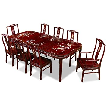 Hand Crafted 96in Mother Of Pearl Motif Rosewood Dining Table With 8 Chairs