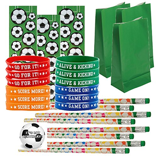 Soccer Party Favors for 24 - Soccer Pencils (24), Soccer Wrist Bands (24), Soccer Sticker Sheets (24), Soccer Theme Gift Bags (24) and Happy Birthday Sticker (Total 97 Pieces) (green (Soccer Ball Party)