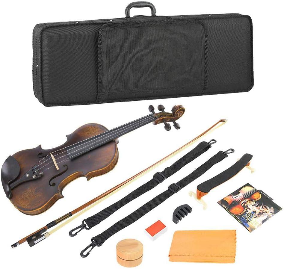 Neufday Violín acústico de Madera 4/4, Retro Vintage 4/4 Violín acústico de Madera con Cuerda Accesorios de Instrumentos Musicales de Resina muda: Amazon.es: Hogar