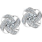 Bluestercool Femmes Diamant Etoile éternelle Boucles d'oreilles Bijoux (Argent)