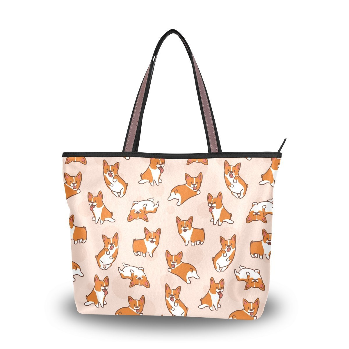 Cartoon Corgis Pattern Tote Bags Women's Stylish Travel Totes Fabric Zippered Tote for Shopping Handbag