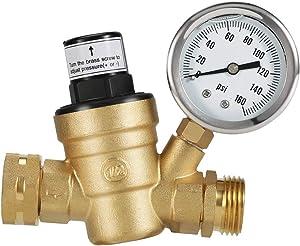 Water Pressure Regulator Valve, Brass Lead-Free Adjustable Water Pressure Reducer,Pressure Reducer with Liquid Filled Pressure Gauge 160psi and Inlet Screened Filter Fit RV Camper Travel Trailer