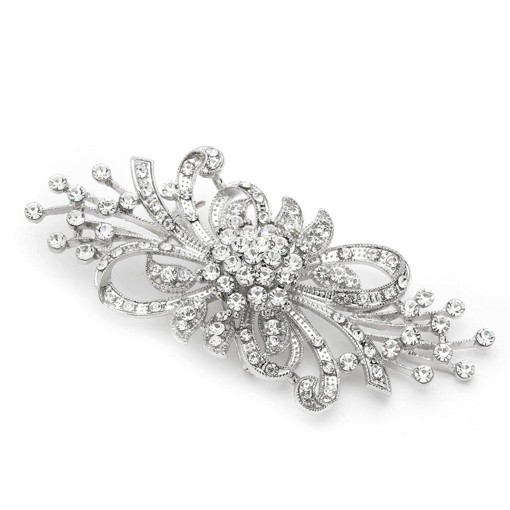 Mariell Antique Vintage Spray Crystal Rhinestone Bridal Brooch Pin for Weddings - Sterling Silver Plated
