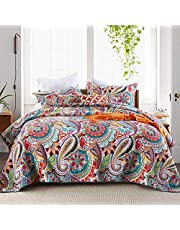 Autumn Dream Cotton Jacquard Bedspread Quilt Sets, Reversible Coverlet Set, Gorgeous Paisley Pattern Floral Bedspreads and Comforters