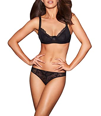 63e08bc715f3a Frederick s Of Hollywood Women s Valencia Unlined Lace Underwire Bra -  Ladies Sexy Lingerie - Valencia Black