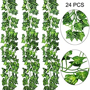 AGEOMET 24 PCS Fake Ivys Artificial Ivys Greenery Garlands Hanging for Wedding Party Garden Wall Decoration(79 inch Each) 80