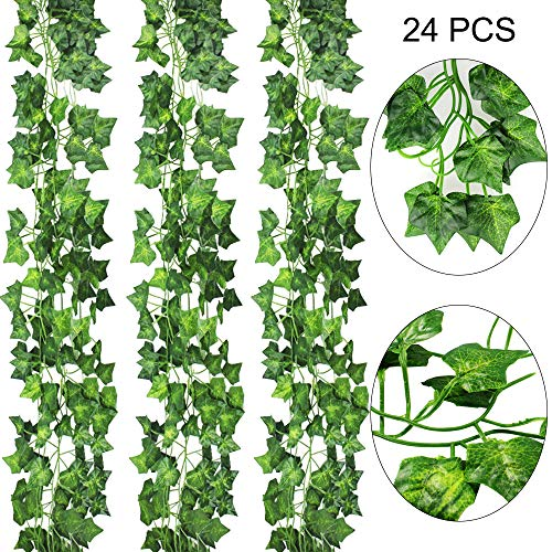 AGEOMET 24pcs Fake Ivys Artificial Ivys Greenery Garlands Hanging for Wedding Party Garden Wall Decoration(79 Inches Each)