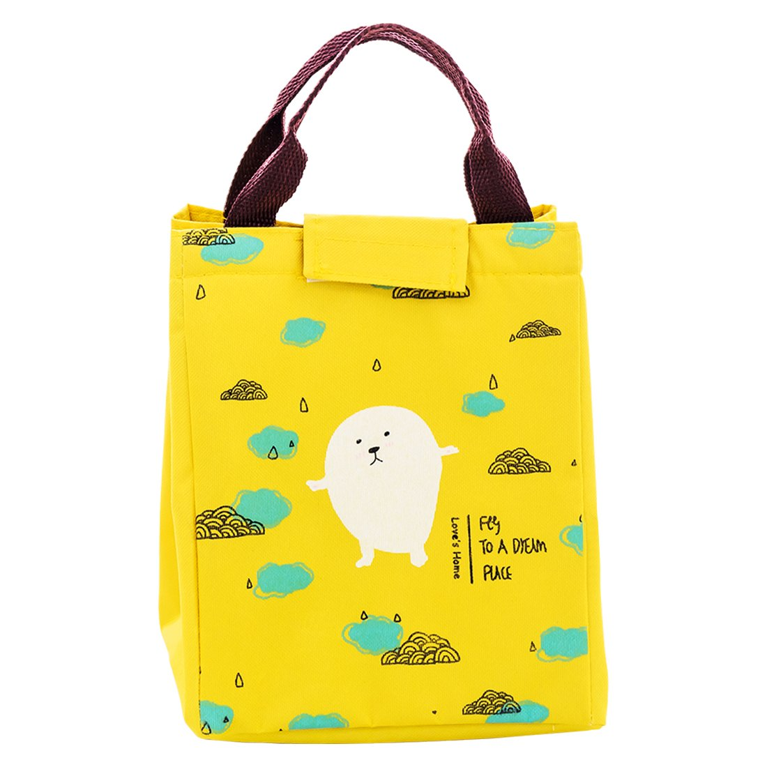 Oyachic Thermal Lunch Bag Insulated Tote Leakproof Zipper Bag with Velcro Closure Cute Cloud Pattern for Office, School and Picnic (Yellow Rain)