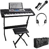 Vangoa MK-816 USB-MIDI(APP) 61 Keys Electric Piano Keyboard with Lighting Keys, X-style Bench, LCD Display Screen, Microphone, Headphone and Carrying Bag