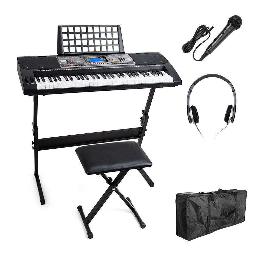 Vangoa MK-816 USB-MIDI(APP) 61 Keys Electric Piano Keyboard with Lighting Keys, X-style Bench, LCD Display Screen, Microphone, Headphone and Carrying Bag 10766507