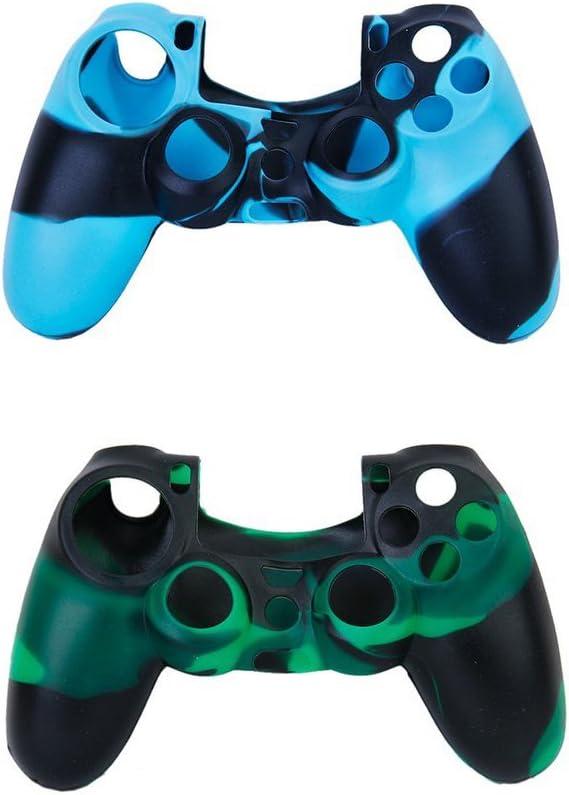 Manette PS4 estuches de protección + tapas de joystick – SODIAL (R) 2pcs estuches de protección de silicona + 2 pares tapones tapones de Joystick de plástico para mando PS4 – azul