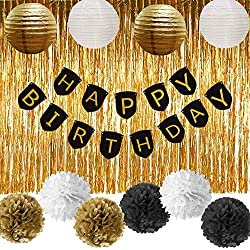 Paxcoo Black and Gold Party Decorations with Happy Birthday Banner for 18th, 21st, 30th, 40th, 50th, 60th, 75th, 80th Birthday