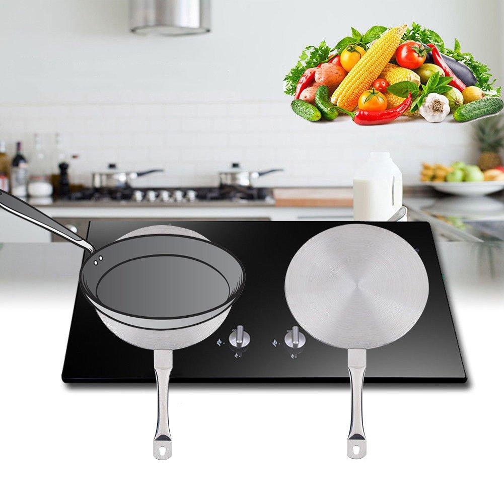 Placa guía de calor para cocina de inducción de acero inoxidable, placa de acero inoxidable para inducción y estufa de gas, placa difusora de calor 20 ...
