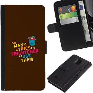 MobileMart/Samsung Galaxy Note 4 SM-N910/liricas con letra de la canción música favorita con texto en inglés carcasa creatividad/sintética con funda de piel con tarjetero con diseño de Armor: Amazon.es: Electrónica
