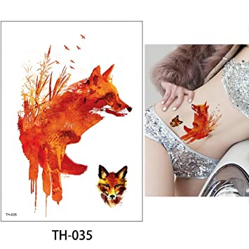 475b5409b Amazon.com : s2 1 Sheet Watercolor Animal Temporary Tattoo Fox Wolf Decal  Body Sticker Water Transfer Tattoo Paper Fashion : Beauty